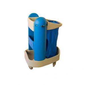 Τρόλεϊ καθαρισμού με δυο υποδοχές για σκούπες, κράτημα σακούλας και λεκανάκι για τα απορρυπαντικά