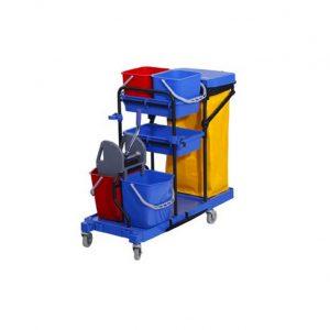 Τρόλεϊ καθαρισμού με δυο 5Lt κουβαδάκια, δυο κουβάδες 18Lt και στίφτη