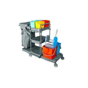Τρόλεϊ καθαρισμού χρωμίου με τέσσερα 5Lt κουβαδάκια, σακούλα απορριμάτων, δυο κουβάδες 18Lt και στίφτη