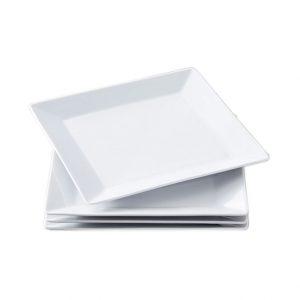 Πιάτο τετράγωνο λευκό εστιατορίου ρηχό σε διαφορετικές διαστάσεις για μια εντυποσιακή παρουσίαση των πιάτων σας στις καλύτερες τιμές της αγοράς