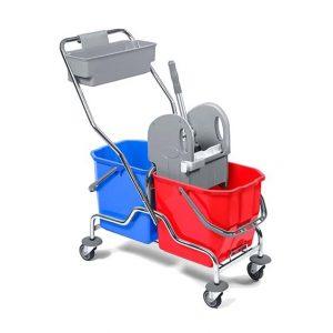 καροτσι-καθαρισμου-με-2-κουβαδες-στιφτη-και-τροχυλατη-βαση-χρωμιου