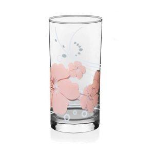 ποτηρι νερου με σχεδιο χρωματιστο λουλουδια γυαλινο