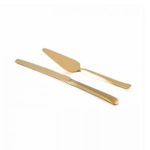 Χρυσή-σπάτουλα-σερβιρίσματος-και-μαχαίρι-τούρτας-σετ-Grace