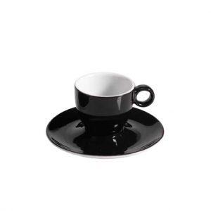 φλυτζανι καφε μαυρο με μαυρο πιατακι