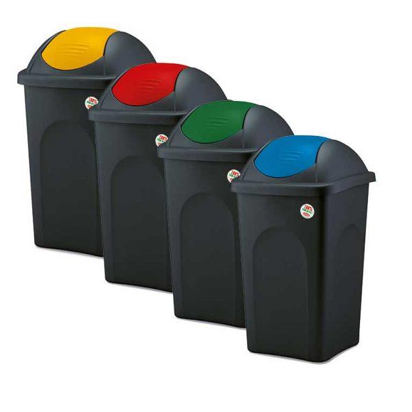 πλαστικος καδος απορριματων με αιρωρουμενο καπακι σε διαφορες χωρητικοτητες και χρωματα