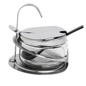 βαζο σερβιρισματος για τριμμενο τυρι ζαχαρι με κουταλι