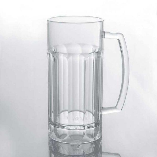 ποτηρι μπυρας πλαστικο διαφανο με χερουλι πισινας