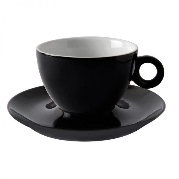 φλιτζανι καπουτσινο μαυρο μοντερνο με πιατακι torino