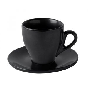 black matte cappuccino cup with saucer Du