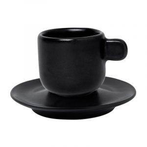 black matte cappuccino mug with saucer parma