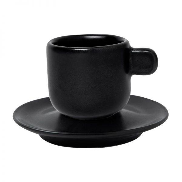 μαυρο ματ φλυτζανι πορσελανης με πιατακι parma