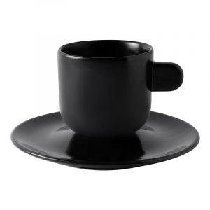 black matte espresso mug with saucer parma