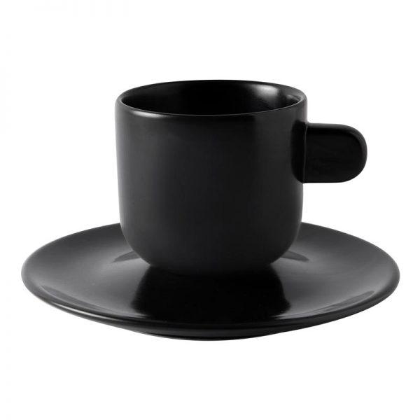 φλιτζανι μαυρο ματ με πιατακι μοντερνο για εσπρεσο parma