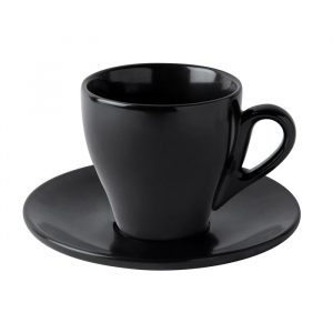black matte tea cup with saucer Du