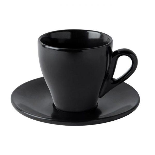 φλυτζανι μαυρο ματ με πιατακι για τσαι μοντερνο du
